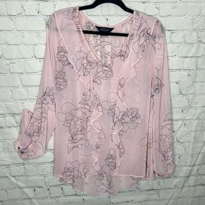 Michel Studio pink frilly long sleeve sheer blouse